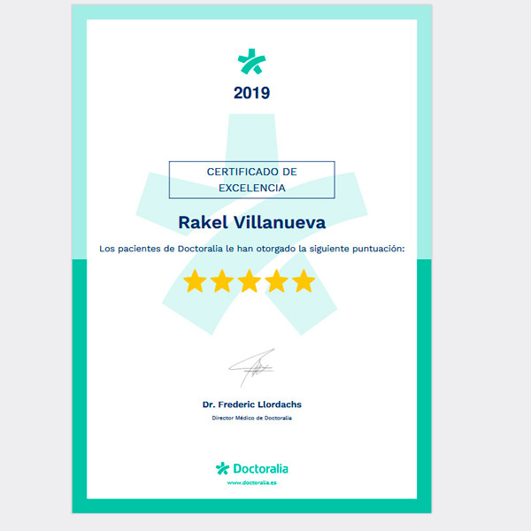 Certificado de Excelencia Psicóloga Rakel Villanueva 2019