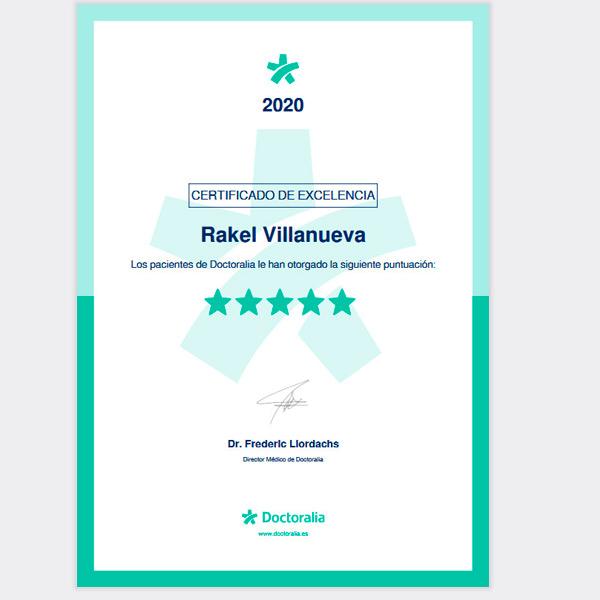 Certificado de Excelencia Psicóloga Rakel Villanueva 2020